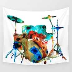 The Drums - Music Art By Sharon Cummings Wall Tapestry