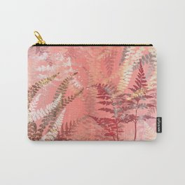 Elegant Coral Gold Fern Leaves Abstract Pattern Carry-All Pouch
