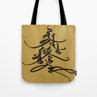 calligraphy Tote Bags featuring Mongolian calligraphy by Endangered Alphabets