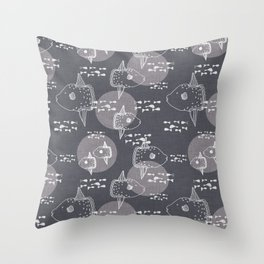 Mola Mola Grey-Ocean sunfish Throw Pillow