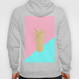 Pink and mint geometric faux gold glitter pineapple Hoody