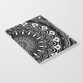 Bold Mandala Black and White Simple Minimal Minimalistic Notebook