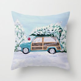 Blue vintage Christmas woody car with pine tree Throw Pillow