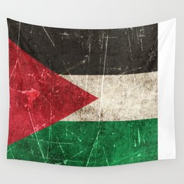 Vintage Aged and Scratched Palestinian Flag Wall Tapestry
