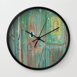 MY OLD GREEN DOOR Wall Clock