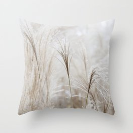 Light Neutral Soft Ornamental Grasses Throw Pillow