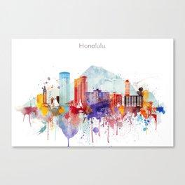 Colorful Honolulu skyline design, Hawaii cityscape Canvas Print