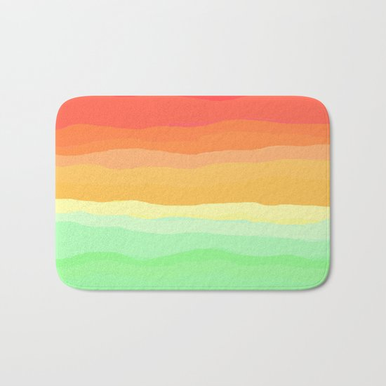 Rainbow - Cherry Red, Orange, Light Green Bath Mat