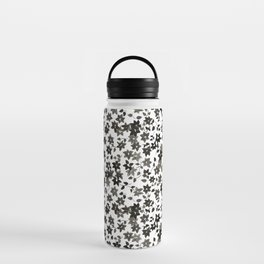 Black and White Bougainvillea Water Bottle