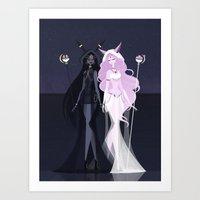 umbreon Art Prints featuring Umbreon and Espeon by LittlePaperForest