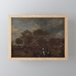 Farmstead with the Gentleman Farmer and his Wife and the Painter in the foreground, Jan Pietersz Opp Framed Mini Art Print