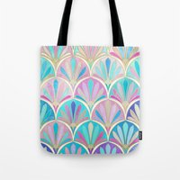 deco Tote Bags featuring Glamorous Twenties Art Deco Pastel Pattern by micklyn