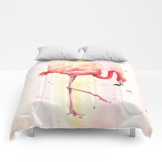 Pink Flamingo Rain | Facing Right Comforters