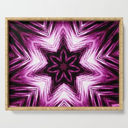 Bright Dark Violet Wine Red Abstract Blossom #purple #kaleidoscope Serving Tray