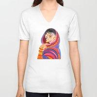 hindu V-neck T-shirts featuring Hindu Woman by IlyLilyArt