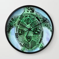 tatoo Wall Clocks featuring Tatoo Sea Turtle by PepperDsArt
