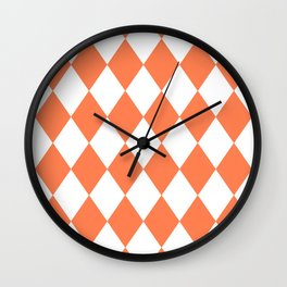 Diamonds (Coral/White) Wall Clock