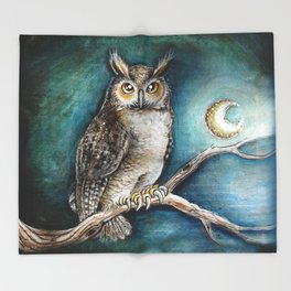 Moon Owl Throw Blanket