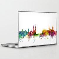 switzerland Laptop & iPad Skins featuring Zurich Switzerland Skyline by artPause