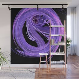 Purple-Lilac Swirling Fire Fractal Design Wall Mural