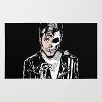 alex turner Area & Throw Rugs featuring Alex Turner Skull Art by zombieCraig by zombieCraig
