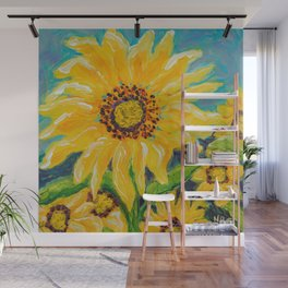 Image of my bright and cheerful Sunflower acrylic painting Wall Mural