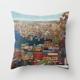 Boston seaport view from the hill Throw Pillow
