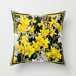 Black-Grey Art Design Yellow-White Daffodils Throw Pillow