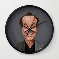 celebrity Wall Clocks featuring Celebrity Sunday ~ Jack Nicholson by rob art | illustration