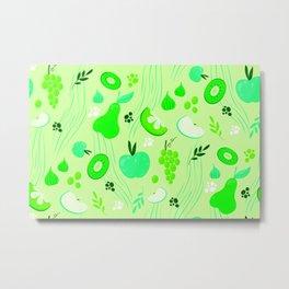 Green Fresh Fruits Metal Print
