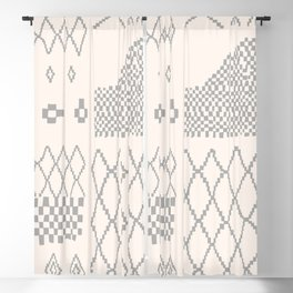 Moroccan Patchwork in Cream and Grey Blackout Curtain
