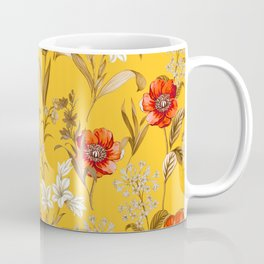 Floral Pattern Ocre Background Bright Colours Coffee Mug