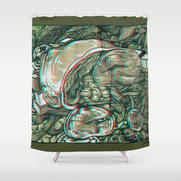 imaginations of mind 3D anaglyph Shower Curtain