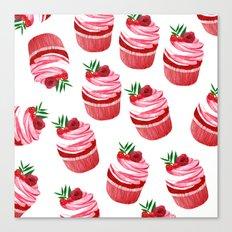 Red velvet cupcakes pattern Canvas Print