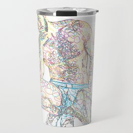 Scribble-sketch man in underwear Travel Mug