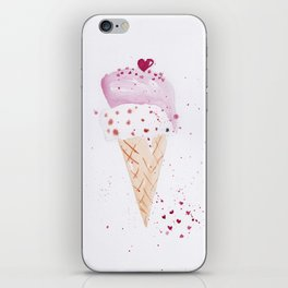 Ice cream Love watercolor illustration summer love pink strawberry iPhone Skin