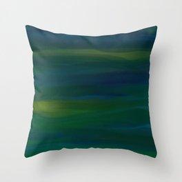 Navy, Peacock Green Abstract Throw Pillow