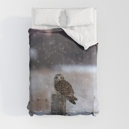 Short eared owl in falling snow Comforters
