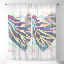 Rainbow Zebra Print Heart! Sheer Curtain