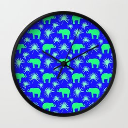 Wild African bright green little elephants, exotic tropical leaves whimsical cute blue pattern Wall Clock