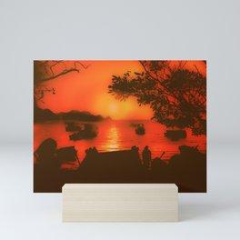 Sunset at Caribbean Bay of Taganga Colombia Mini Art Print