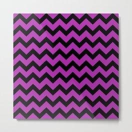 Chevron (Black & Purple Pattern) Metal Print