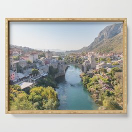 Old Town and Bridge in Mostar, Bosnia and Herzegovina Serving Tray