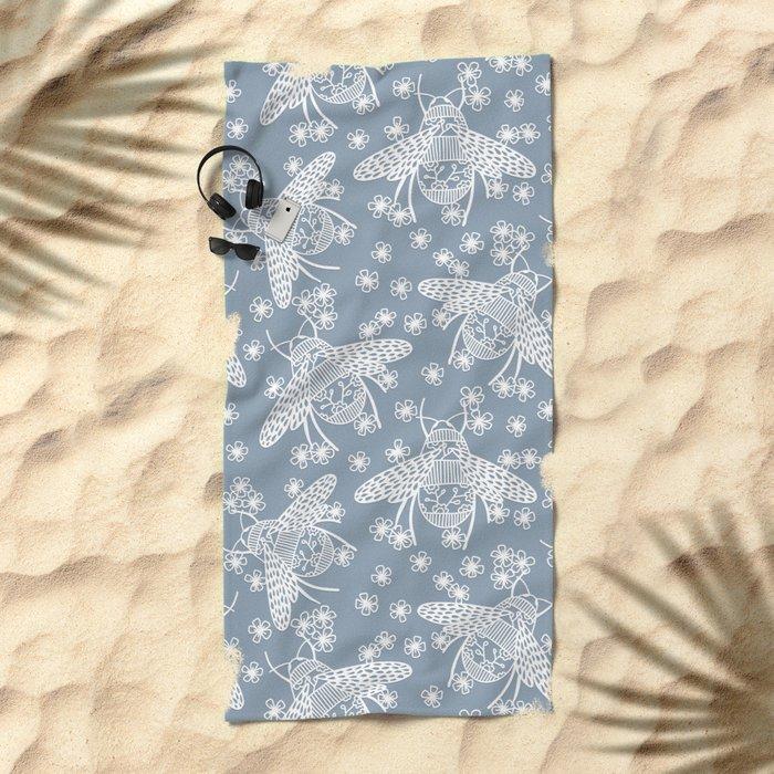 Papercut Bees Beach Towel