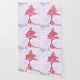Red Tree watercolor on old paper Wallpaper