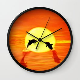 dolphin sunset jump Wall Clock