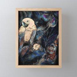 MACAW,PARROT, TROPICAL DESIGN PALM FOREST PRINT Framed Mini Art Print