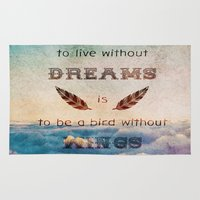 mandie manzano Area & Throw Rugs featuring Dreams Are Wings by Diogo Verissimo