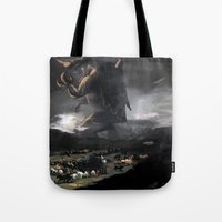 kaiju Tote Bags featuring El Kaiju by SkullsNThings