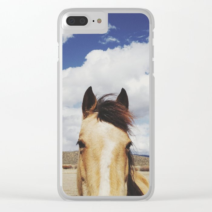 Cloudy Horse Head Clear iPhone Case